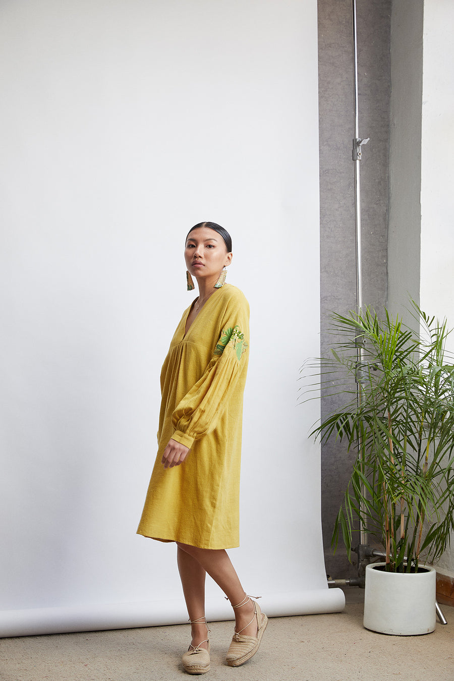 Sunshine Organic cotton v neck dress - Ethical made fashion - onlyethikal