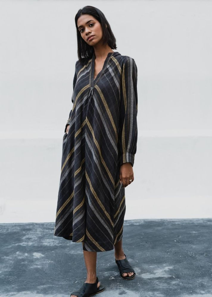 Uneven striped classic dress in Organic Cotton - Ethical made fashion - onlyethikal