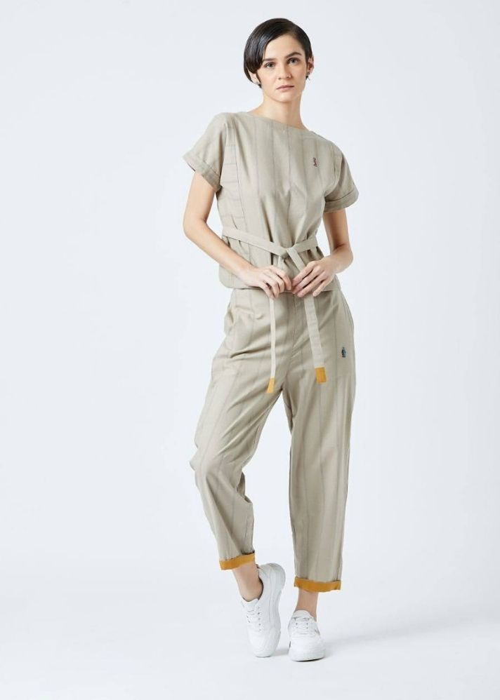 Fildes Beige Top and Pant set - onlyethikal