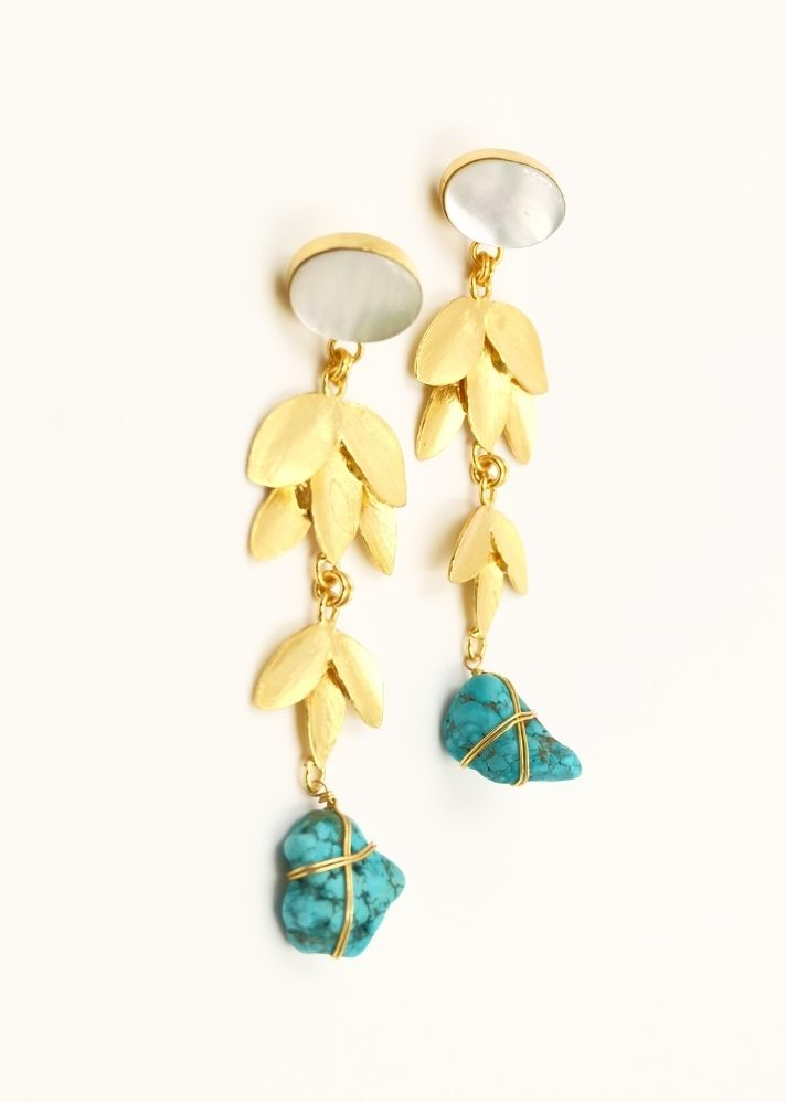Turquoise Frond Earrings - Ethical made fashion - onlyethikal