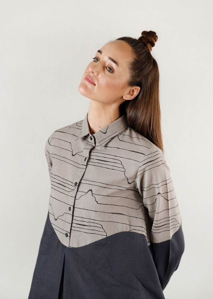 Relaxed Grey Wave Shirt Top - Ethical made fashion - onlyethikal