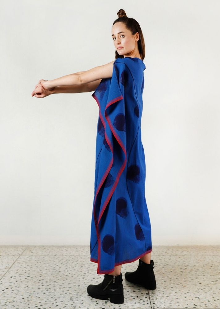 Blue Fluid Moon Kaftan Dress - Ethical made fashion - onlyethikal