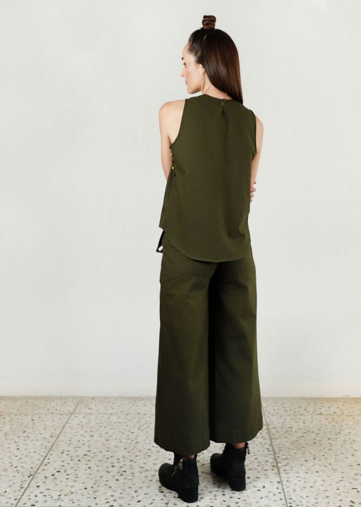 Solid Moon Olive Co-Ord 2 piece set - onlyethikal