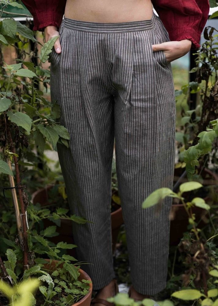 Earthy striped organic cotton pants - Ethical made fashion - onlyethikal