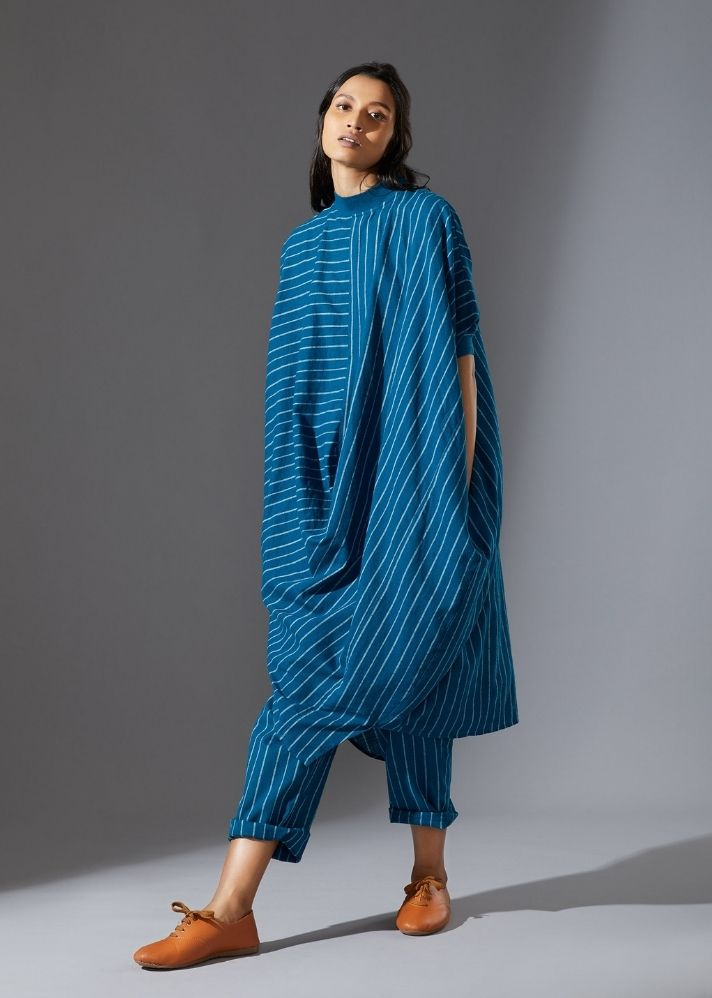 Cotton Cowl Tunic Set - Blue - onlyethikal