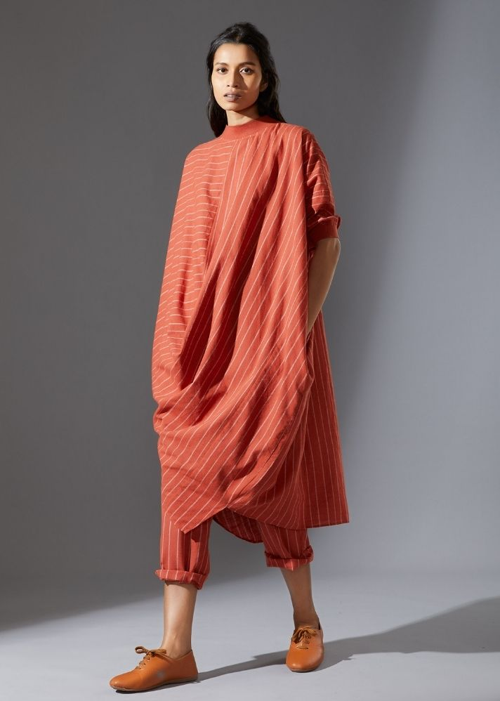 Cotton Cowl Tunic Set - Rust - onlyethikal