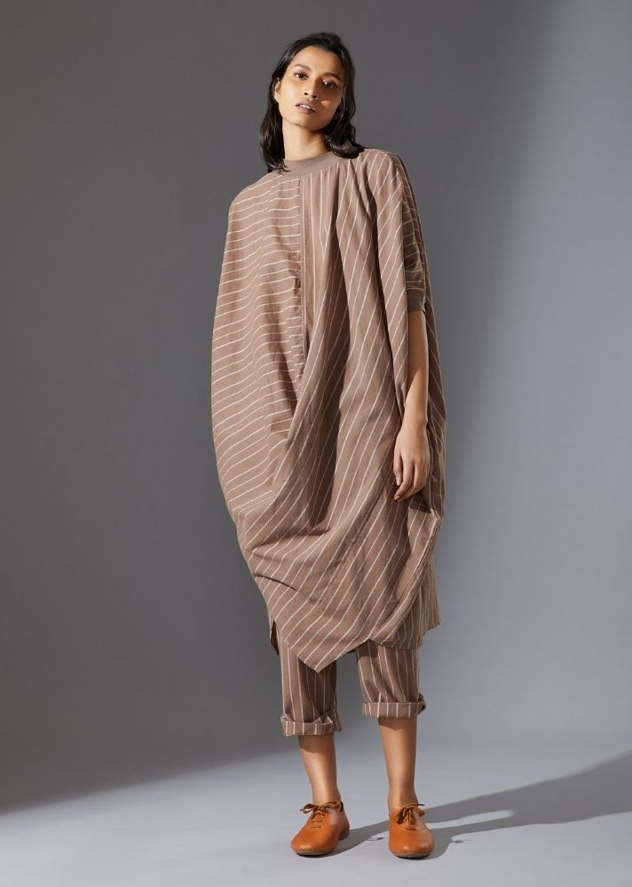 Cotton Cowl Dress-Beige - Ethical made fashion - onlyethikal
