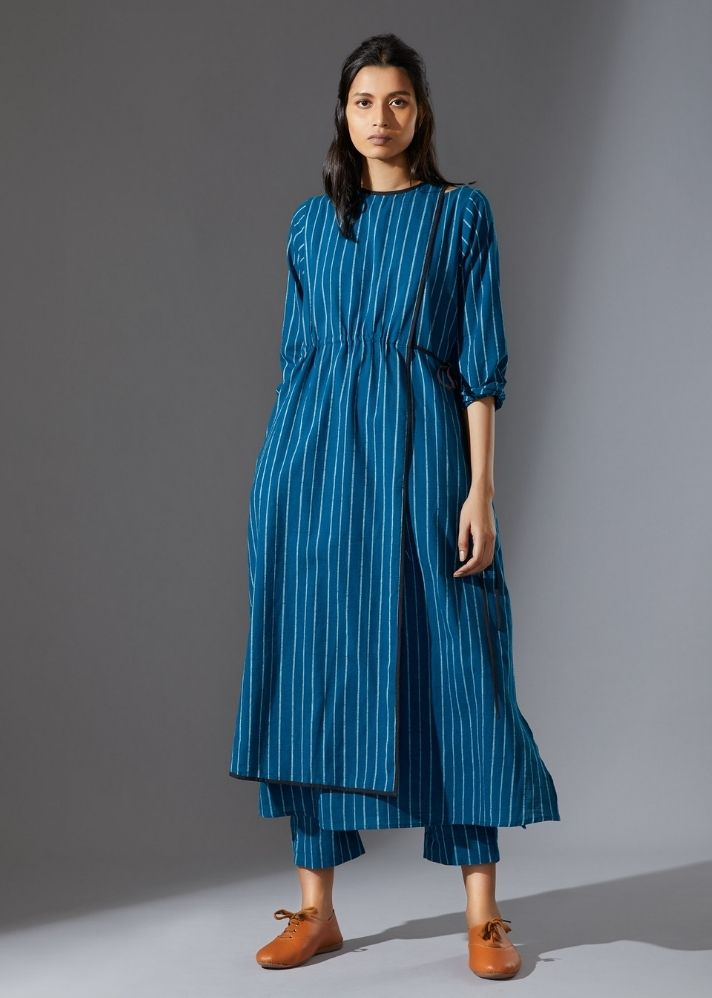 Cotton Overlap Tunic-  Blue - onlyethikal
