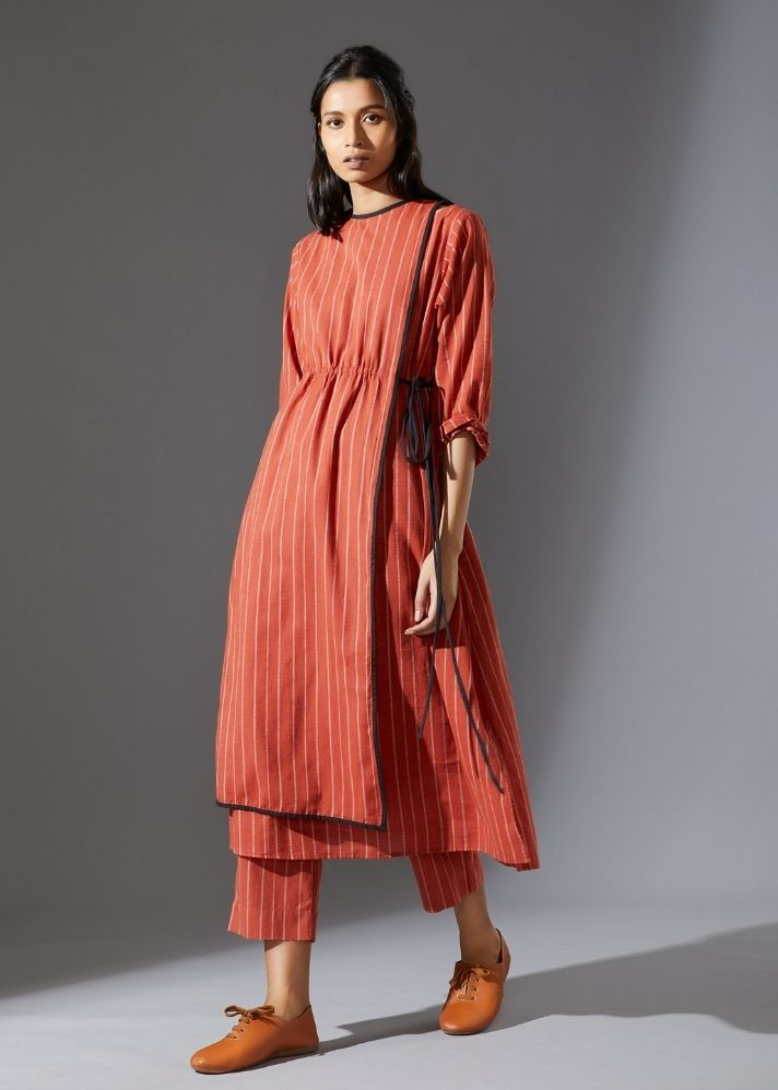 Cotton Overlap Tunic-  Rust - onlyethikal