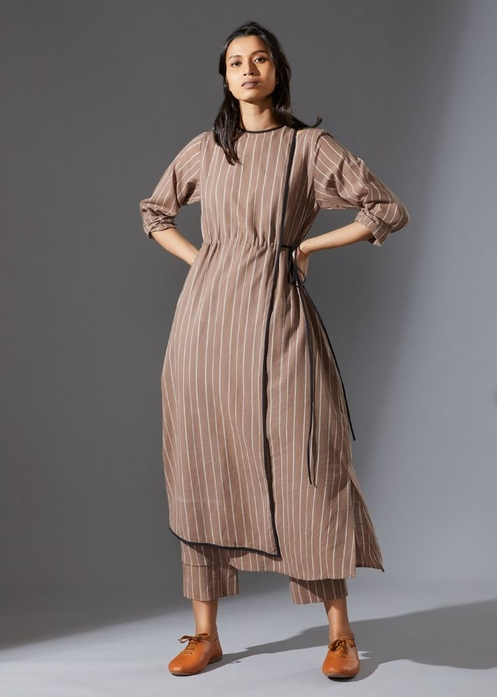 Cotton Overlap Tunic-  Beige - Ethical made fashion - onlyethikal
