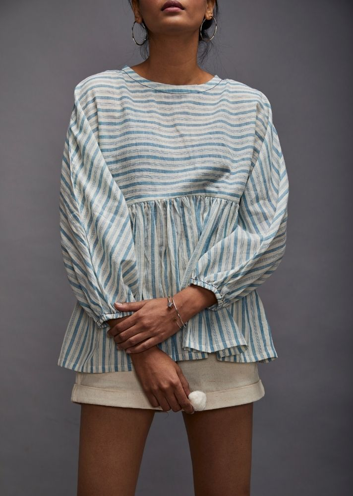 Poncho Kaftaan Crop Top- Blue Stripes - Ethical made fashion - onlyethikal