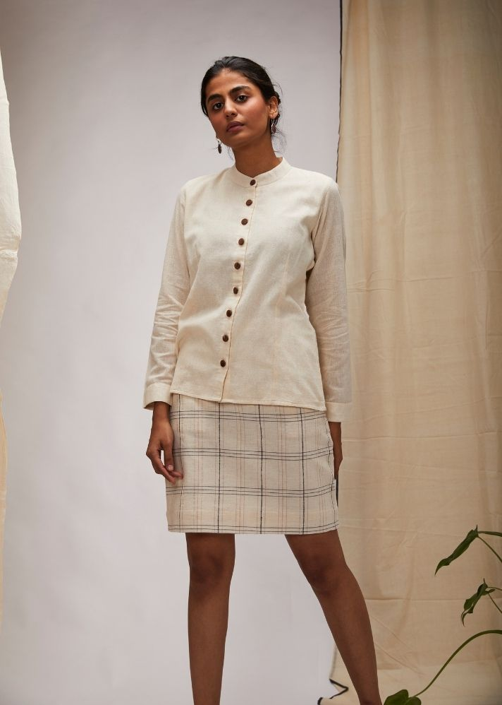 Mandarin Collar Shirt with Big Brown Button- Off White - Ethical made fashion - onlyethikal