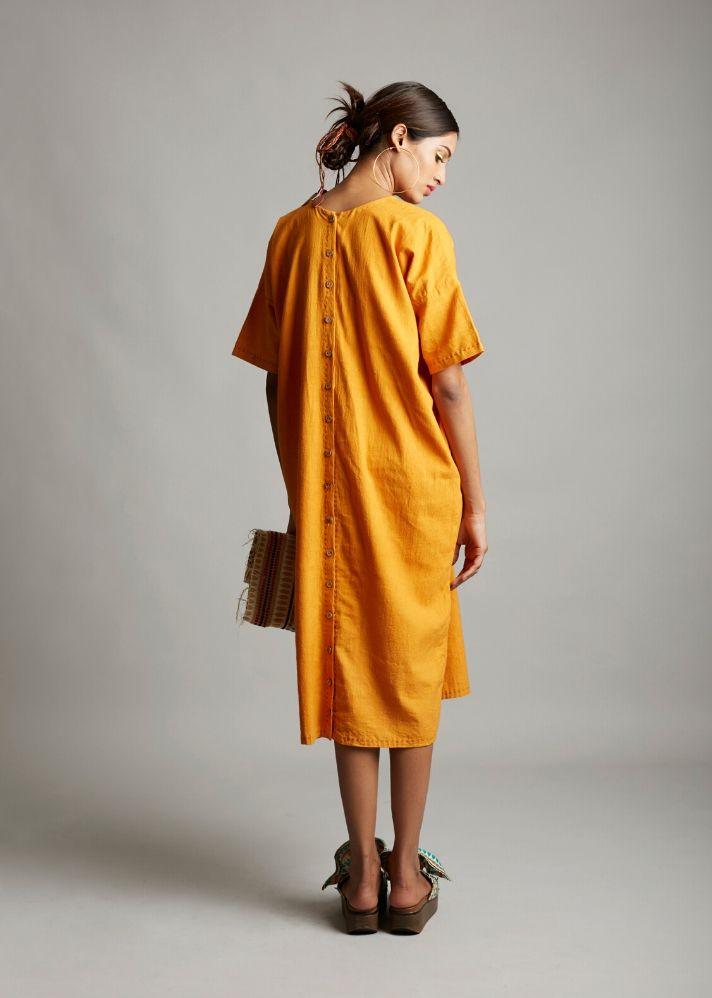 Organic cotton mid calf dress - Ethical made fashion - onlyethikal