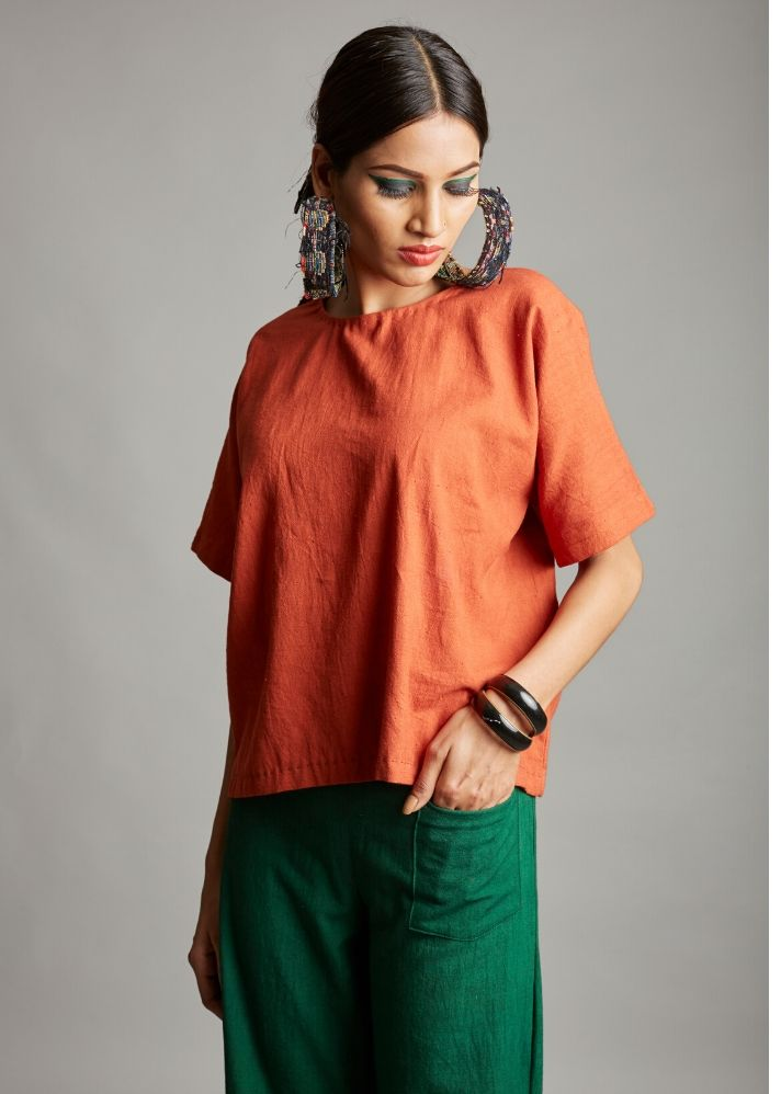 Organic cotton half sleeves top - Ethical made fashion - onlyethikal