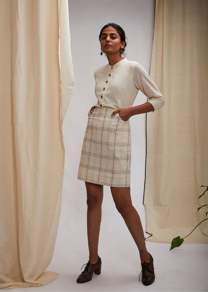 Handloom Cotton Pencil Skirt- White - Ethical made fashion - onlyethikal
