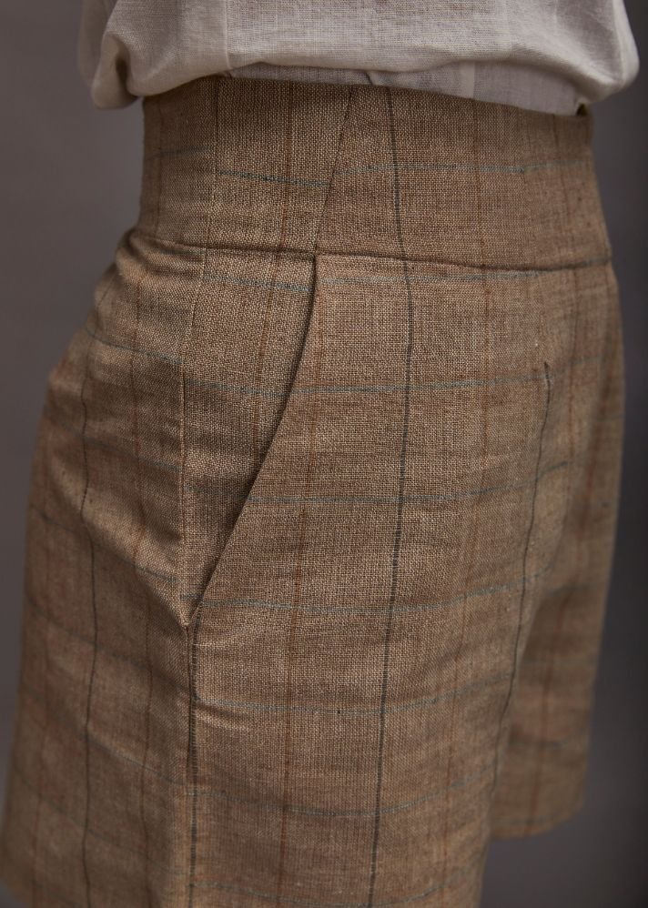Side closure high waist Shorts- Brown - Ethical made fashion - onlyethikal