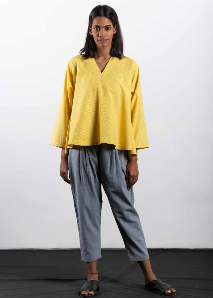Yellow check top in Organic Cotton - Ethical made fashion - onlyethikal