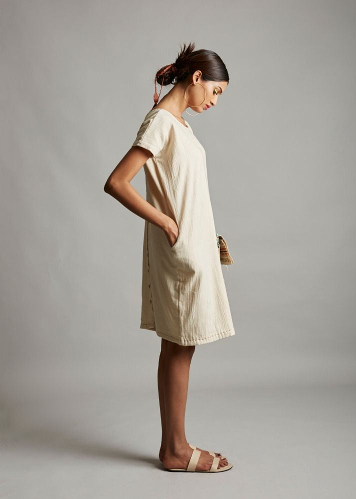 Natural White Back Detail Dress - Ethical made fashion - onlyethikal