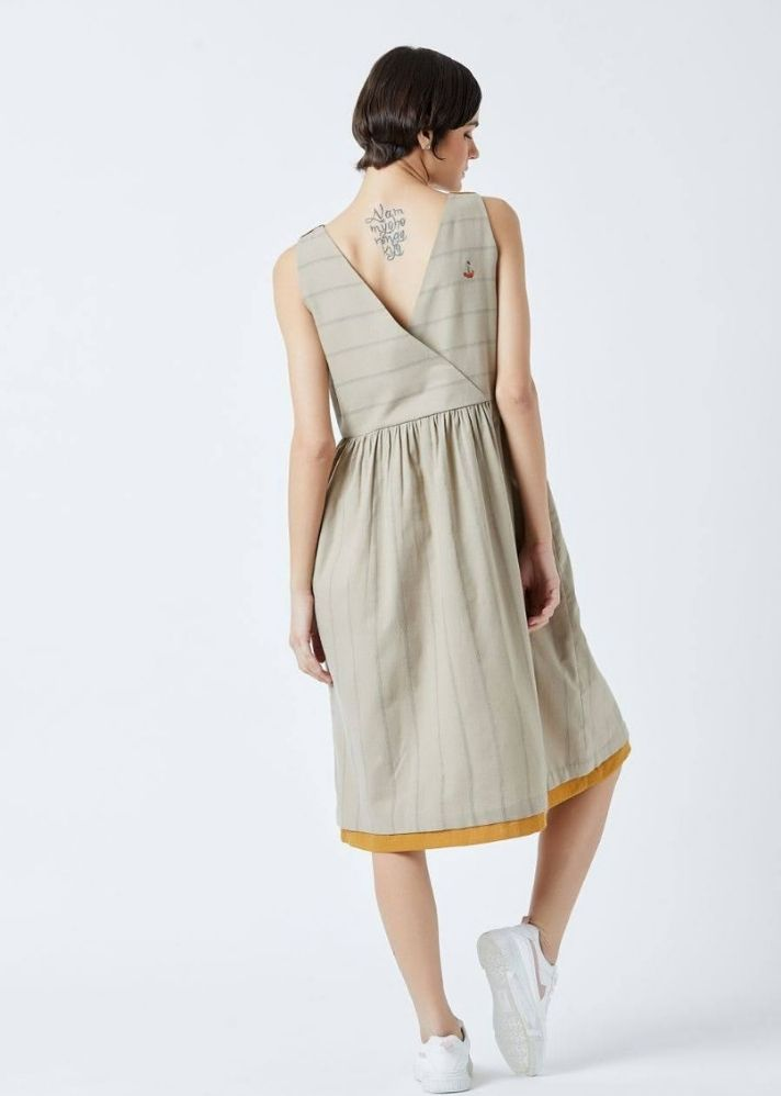 Angela Beige Stripe Dress - Ethical made fashion - onlyethikal