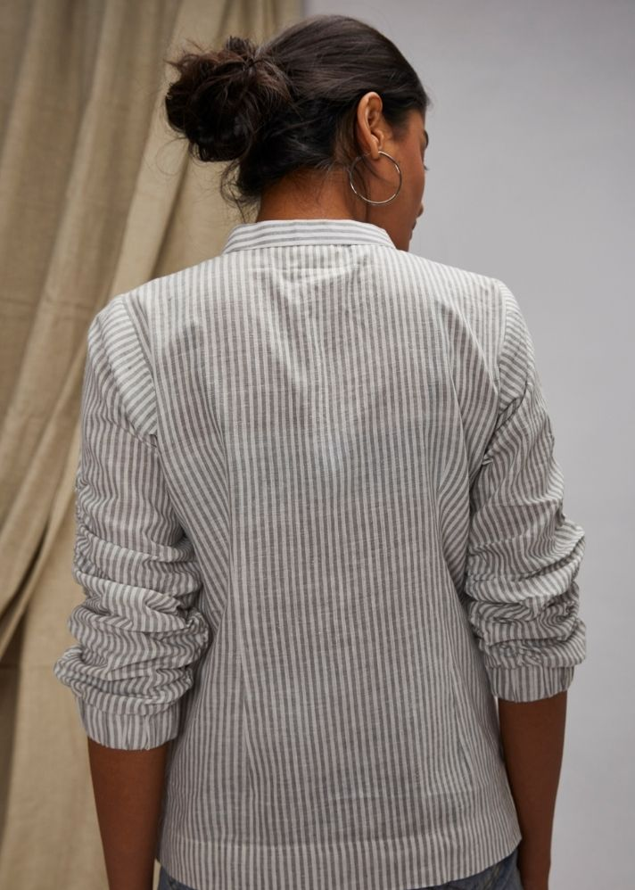 Fitted Jumper Sleeves Shirt- Grey - Ethical made fashion - onlyethikal