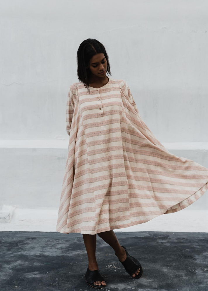 Salmon pink stripes dress in Organic Cotton - Ethical made fashion - onlyethikal
