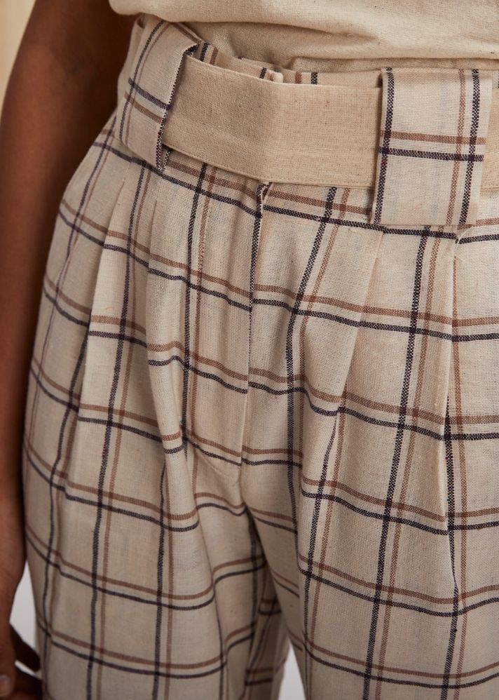 Straight palazzo with wooden buckle belt- Brown Check - Ethical made fashion - onlyethikal