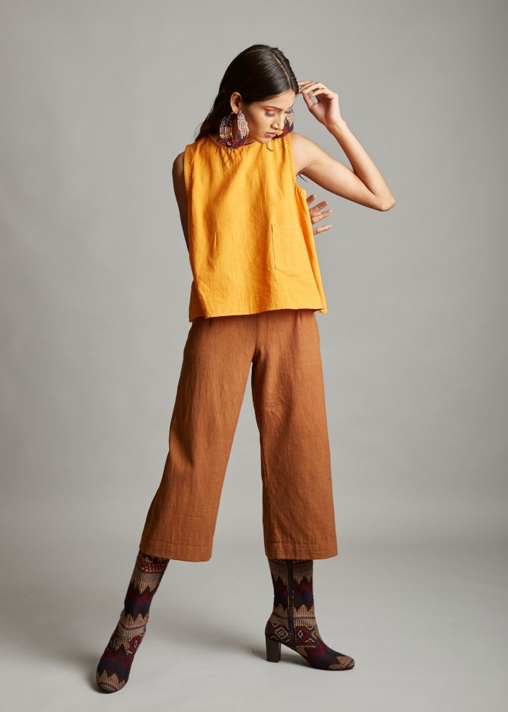 Organic cotton chestnut culottes - Ethical made fashion - onlyethikal