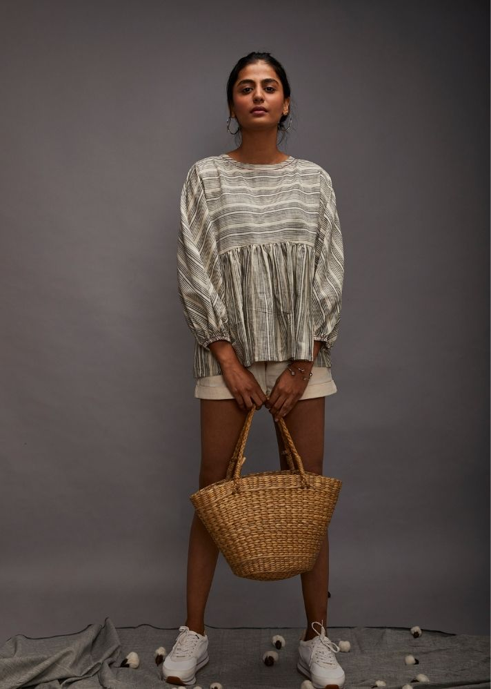 Poncho Kaftaan Crop Top- Grey - Ethical made fashion - onlyethikal