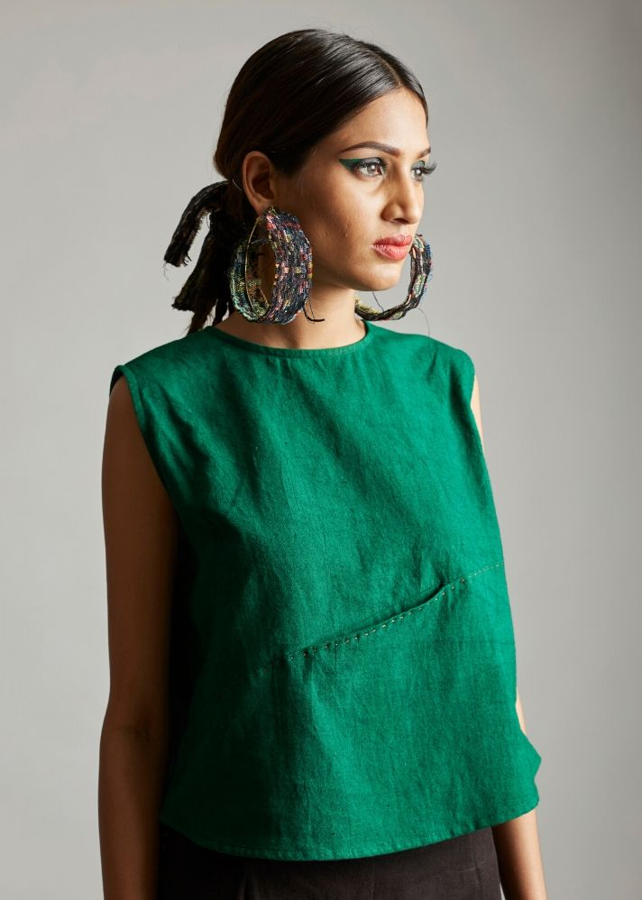 Organic cotton top with front detail - Ethical made fashion - onlyethikal