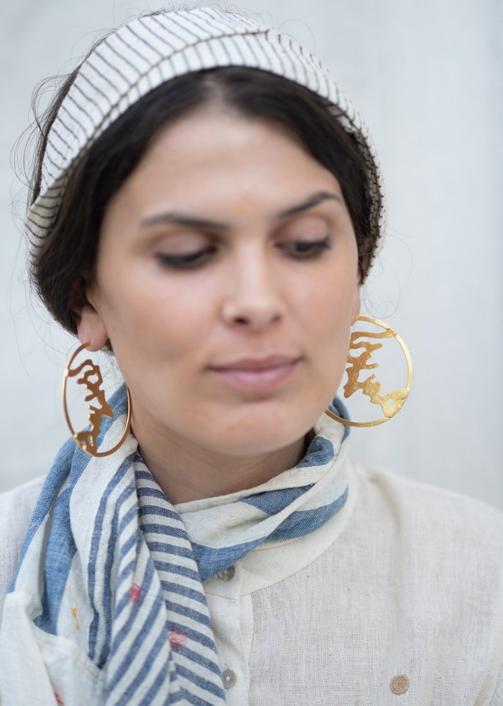 Artistic round earing - Gold plating - Ethical made fashion - onlyethikal