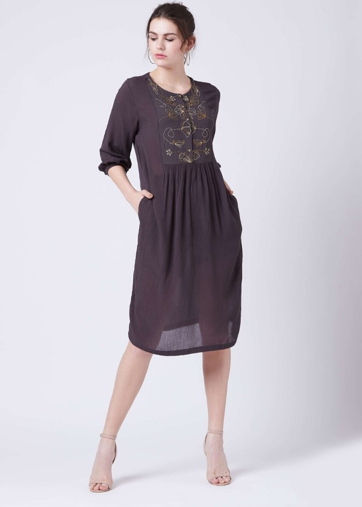 Black embroidered dress - Ethical made fashion - onlyethikal