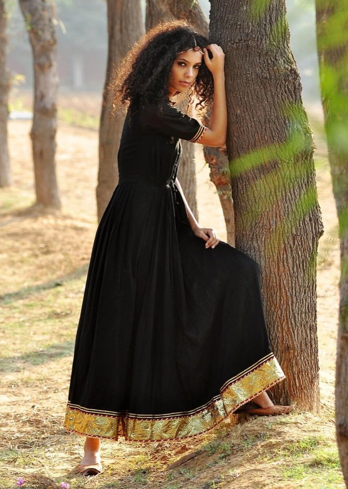 Black Ornamental dress - Ethical made fashion - onlyethikal