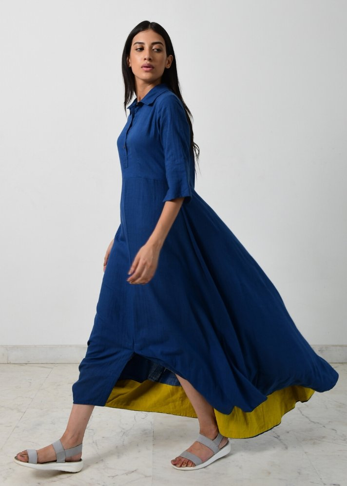 Blue collar cowl dress - Ethical made fashion - onlyethikal