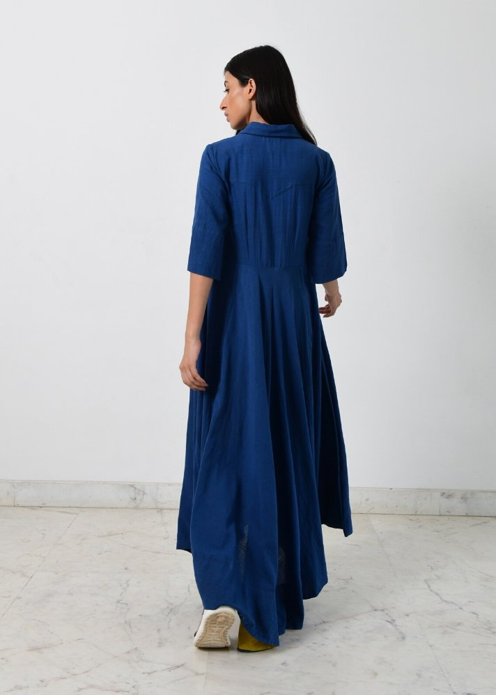 Ready to ship! Blue collar cowl dress - Ethical made fashion - onlyethikal