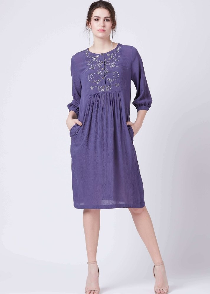 Blue embroidered dress - Ethical made fashion - onlyethikal