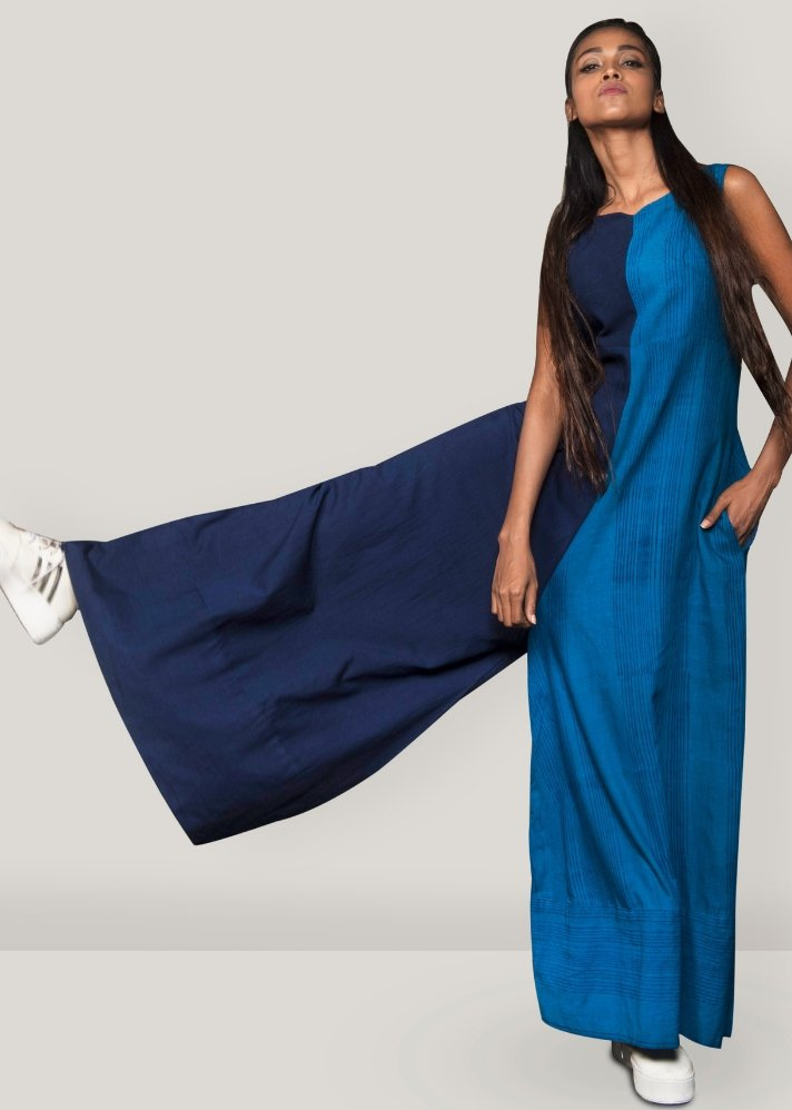 Ready to Ship! Blue Flare Jumpsuit - Ethical made fashion - onlyethikal
