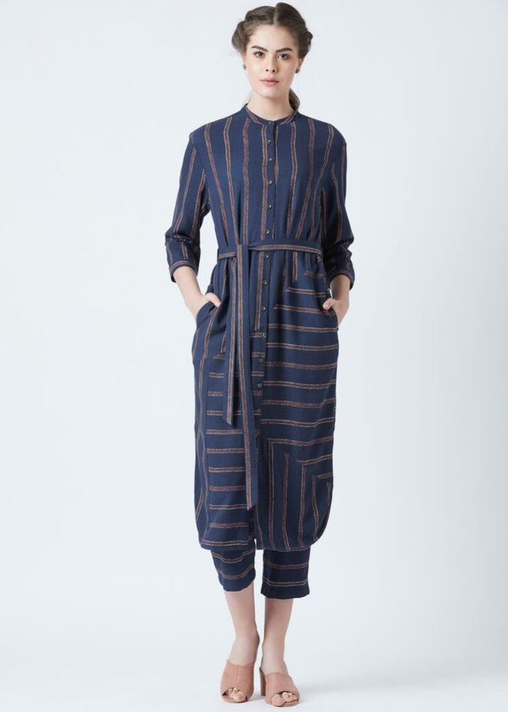 Blue stripe Tunic and pants set - Ethical made fashion - onlyethikal