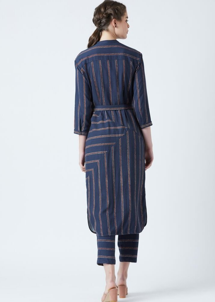 Blue stripe Tunic and pants set - onlyethikal