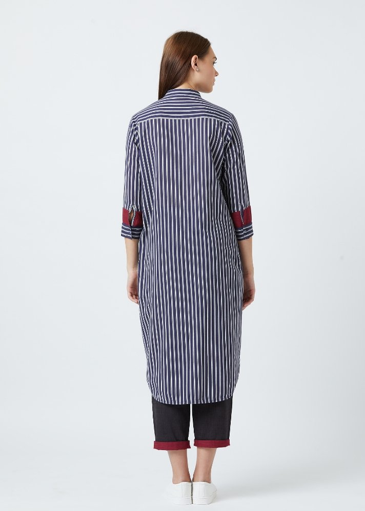 Ready to ship! Blue stripe tunic and pants set - Ethical made fashion - onlyethikal