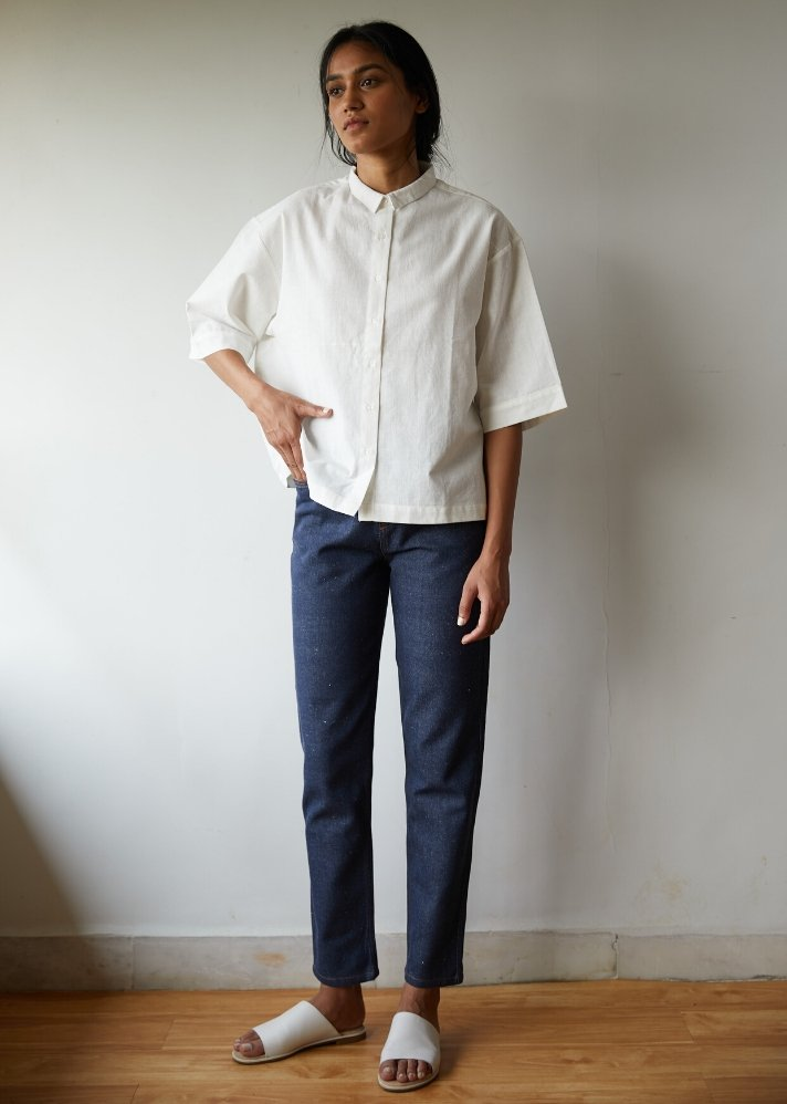 Boxy white shirt in Khadi - onlyethikal