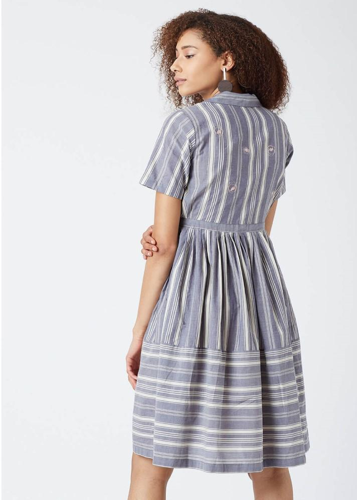 Button down striped dress - Ethical made fashion - onlyethikal