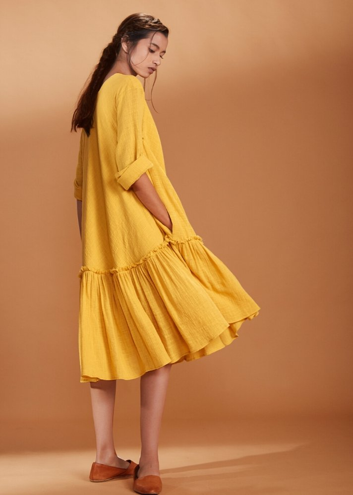 Circular dress with gathered bottom - Yellow - Ethical made fashion - onlyethikal