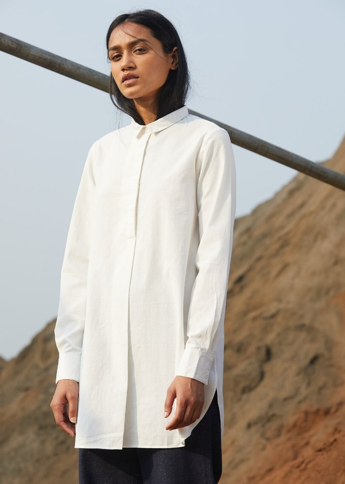 Classic white shirt in Khadi - Ethical made fashion - onlyethikal