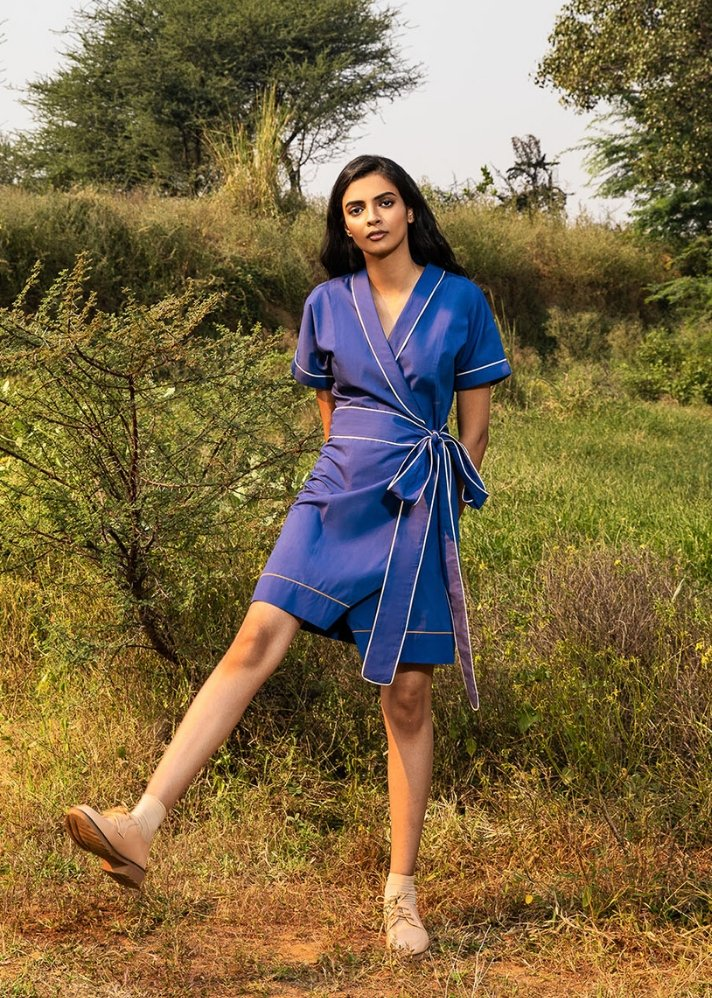 Cobalt kimono wrap dress - Ethical made fashion - onlyethikal
