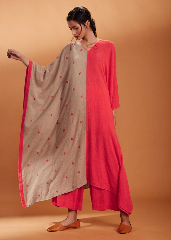 Coral and Khaki Kaftan set - Ethical made fashion - onlyethikal