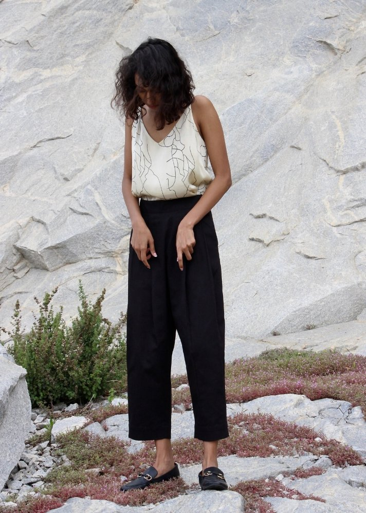 Cotton tailored pants - Black - Ethical made fashion - onlyethikal