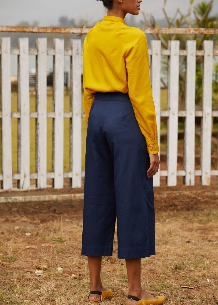 Cotton with satin finish pants - Blue - Ethical made fashion - onlyethikal