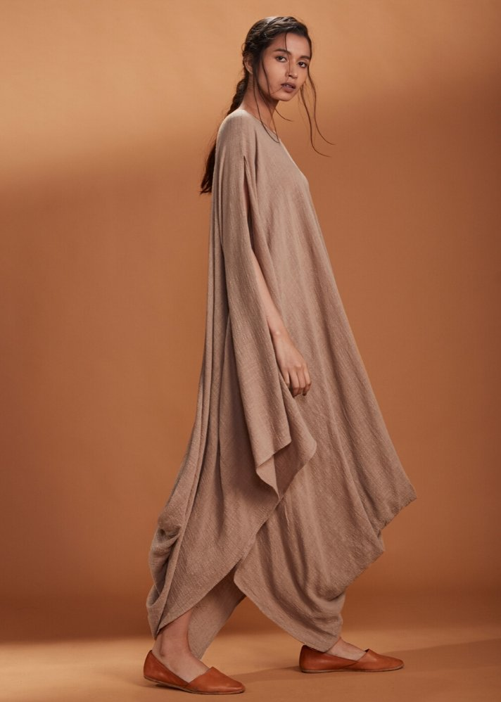 Cowl dress Kaftan style - Brown - Ethical made fashion - onlyethikal