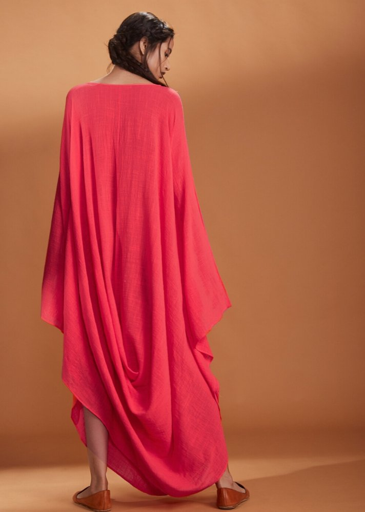 Cowl dress Kaftan style - Coral - Ethical made fashion - onlyethikal