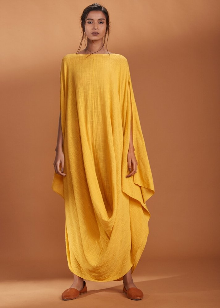 Cowl dress Kaftan style - Yellow - Ethical made fashion - onlyethikal